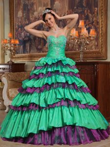 Green Sweetheart and Organza Quinceanera Dresses with Beading