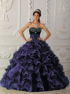 Purple Beaded Sweetheart Organza Dress for Quince with Ruffles for Cheap