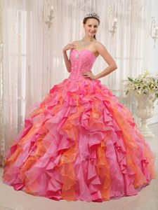Multi-color Ball Gown Sweetheart Quinceanera Dress in Organza with Ruffles