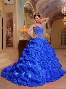 Blue Spaghetti Straps Organza Embroidery Quinceanera Dress with Pick Ups