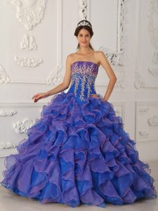 Blue Ball Gown Strapless Organza Quinceanera Dresses with Ruffled Layers