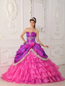 Hot Pink Ball Gown Organza and Dresses for Quince with Appliques