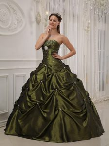 Olive Green Strapless Dress for Quince in and Satin Popular in 2013