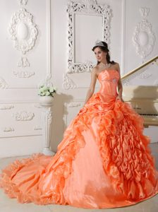 Orange Red Strapless Chapel Train Beaded Quinceanera Dresses in