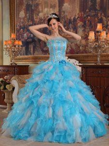 Aqua Blue Ball Gown Strapless Appliqued Quinceanera Dresses in Organza