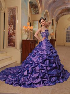 Purple Ball Gown Strapless Court Train Pick-ups Quinceanera Dress