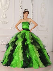 Multi-color Strapless Quinceanera Dresses in Organza with Ruffles Best Seller