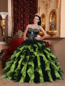Exclusive Ball Gown Sweetheart Dresses for Quince with Ruffles in Organza
