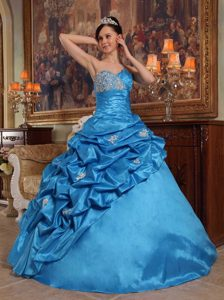 Blue Ball Gown Sweetheart Dress for Quince in with Beading for Less