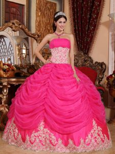 Hot Pink Strapless Organza Quinceanera Dresses with Beading and Pick Ups