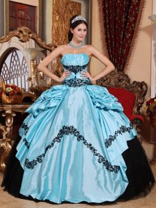Baby Blue Ball Gown Strapless Best Dress for Quince in with Appliques