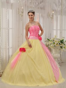 Strapless and Tulle Quinceanera Dress in Pink and Yellow Best Seller