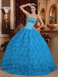 Blue Ball Gown Strapless with Beaded Quinceanera Dress with Rolling Flowers