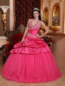 Hot Pink Ball Gown Halter Quinceanera Formal Dress in with Appliques