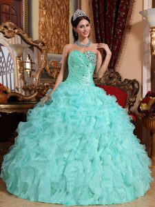 Apple Green Ball Gown Organza Quinceanera Dress with Beading and Ruffles