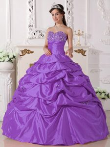 Purple Ball Gown Beaded Sweetheart Dress for Quince with Pick Ups