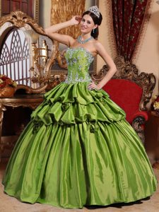 Olive Green Sweetheart Quinceanera Dress in with Appliques for Less