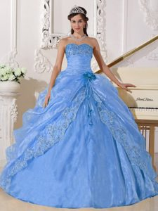 Light Blue Ball Gown Strapless Organza Quinceanera Dress with Embroidery