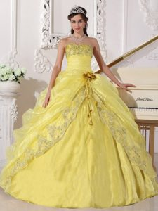 Yellow Ball Gown Strapless Embroidery Beaded Dress for Quince in Organza