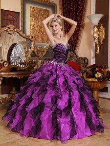 Multi-Color Ball Gown Sweetheart Organza Quinceanera Dresses with Ruffles