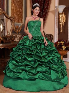 Dark Green One Shoulder Quinceanera Dress in with Pick-ups on Sale