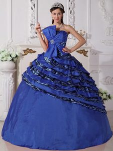 Royal Blue Strapless Zebra Quinceanera Dresses with Beading and Bowknot