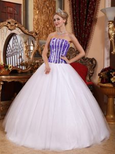 White Ball Gown Strapless Quinceanera Formal Dresses and Sequins