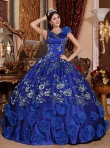 Blue Ball Gown V-neck Satin Quinceanera Dress with Beading and Appliques