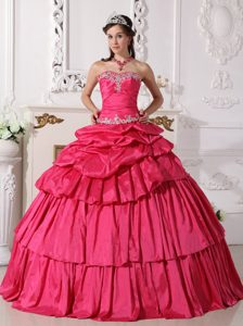 Hot Pink Sweetheart Dresses for Quince with Beading and Pick Ups