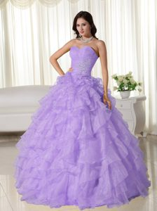 Lavender Ball Gown Sweetheart Quinceanera Dress in Organza with Ruffles
