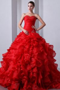 Sweetheart Brush Train Red Ruched Appliqued Quinceanera Dress with Ruffles