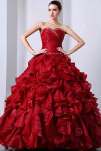 Wine Red Sweetheart Organza Ruched Ruffled Quinceanera Dress with Beading