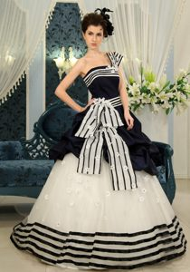 Strapless Long White Black Sweet 16 Dress with Pick-ups and Half Bow