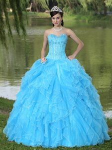 Sweetheart Long Aqua Blue Sweet 16 Dresses with Ruffles and Beading