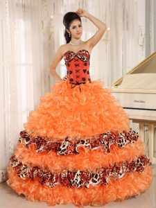 Pretty Orange and Leopard Sweetheart Quinceanera Dress with Layered Ruffles