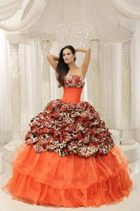 Orange and Leopard Strapless Quinceanera Dresses with Pick-ups and Layers