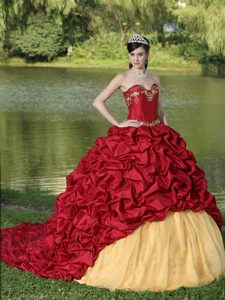 Newest Sweetheart Court Train Wine Red Sweet 16 Dress with Pick-ups