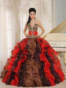 Multi-colored V-neck Leopard Quinceanera Dress with Ruffles on Promotion
