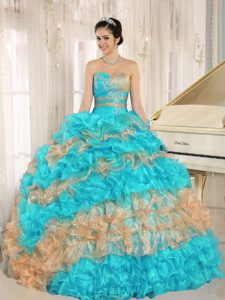 Strapless Aqua Blue and Orange Sweet 16 Dresses with Ruffles and Appliques