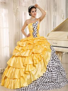 Strapless Multi-colored Quinceanera Dresses with Pick-ups and Dots