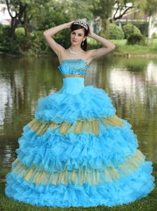 Strapless Aqua Blue Strapless Quinceanera Dress with Layered Ruffles on Sale