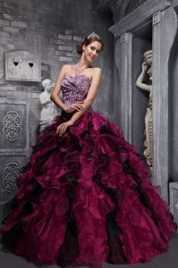 Burgundy Strapless Organza Quinceanera Gown Dress with Ruffles and Leopard