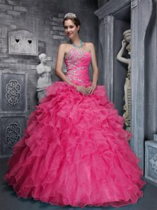Hot Pink Sweetheart Ruched Organza Sweet 16 Dress with Appliques and Ruffle