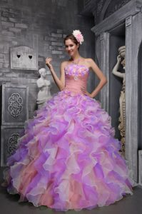 Multi-colored Strapless Organza Quinceanera Dresses with Ruffles and Flowers