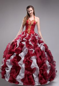 Halter Wine Red and White Organza Ruffled Quinceanera Dress with Appliques