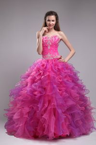 Cute Hot Pink Sweetheart Organza Sweet 16 Dress with Ruffles and Appliques