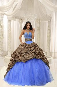 V-neck Long Leopard and Blue Organza Sweet 16 Dress with Pick-ups