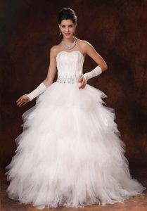 Princess Feathered and Beaded Dress for Wedding with Sweetheart