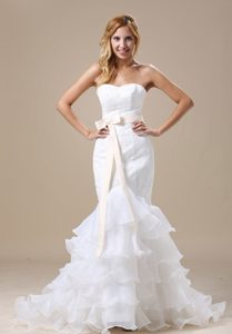 Mermaid Wedding Bridal Gown with Sash and Ruffles in Lace and Organza