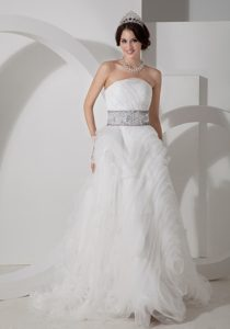 Discount Princess Strapless Dresses for Wedding in Organza with Appliques